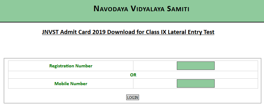 JNVST 9th Admit Card 2019